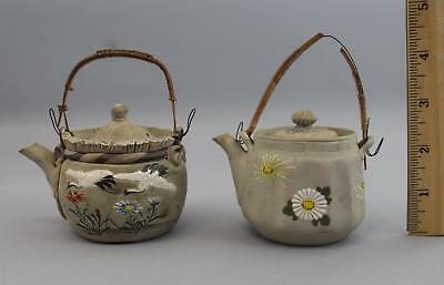 2 Antique Japanese Banko Gray Pottery Miniature Teapots w./ Enamel Flowers