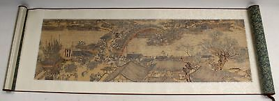 WENSLI Chinese Embroidered Silk Scroll Artwork In Display Case - H17