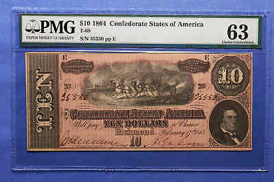 1864 $10 T-68 Confederate States of America PMG 63 Choice Uncirculated.