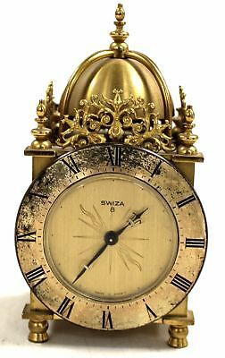 Vintage Swiss Brushed Brass SWIZA Wind-up Ornate Carriage/ Mantle CLOCK - D38