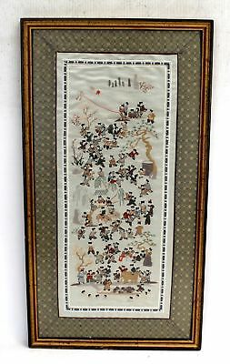 Tall 'One Hundred Children' PURE SILK HAND EMBROIDERY / Framed - R06