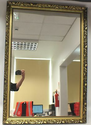 Renaissance Style Bevelled Wall Hanging Mirror Gold MDF Frame 103 x 71 cm - W40