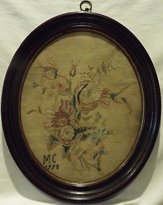 Late 18Th Century Oval Needlepoint Of A Floral Spray By Mary Chorley - 1778