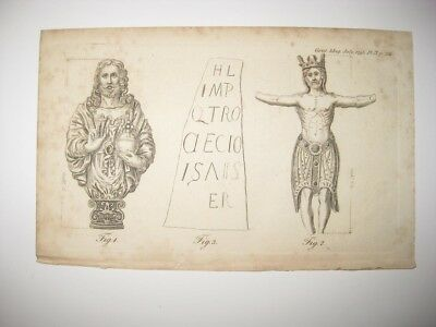 Antique 1795 Medieval Middle Ages Jesus Catholic Cross Statue Copperplate Print