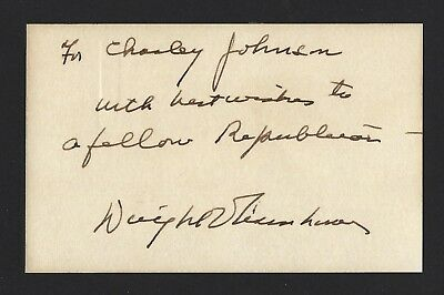 Dwight Eisenhower Signed Index Card, RARE INSCRIPTION, JSA LOA, President, WWII