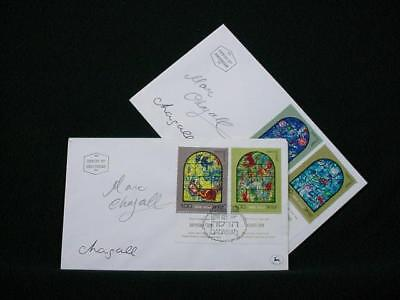 NobleSpirit NO RESERVE {3970}Pair of Marc Chagall Autographed Israel FDC's