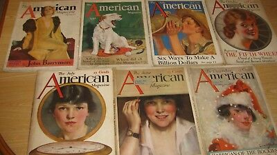 1915 - 1933  American  Magazine Dealer Lot ( 7 Diff )  Nice Cond  Great Car Ads