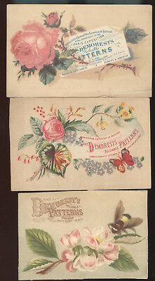 Lot Of 3 1890S Trade Cards Advertising Demorest's Patterns
