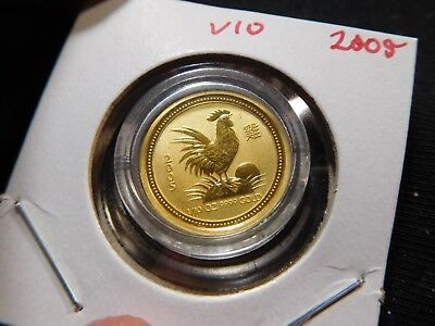 V10 Australia 2005 GOLD 1/10 Oz. Lunar Year of the Rooster BU in Capsule