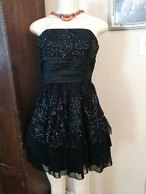 VTG 90's Betsey Johnson Black Floral Lace sequins strapless Goth Prom Dress S