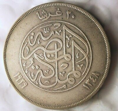 1929 EGYPT 20 PIASTRES - AU - HUGE VALUE - RARE Large Silver Coin - Lot #920