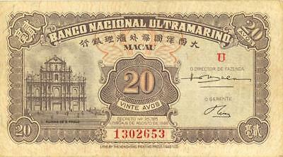 Macao 20 Avos Currency Banknote 1946