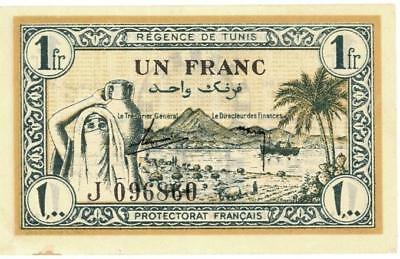 Tunisia 1 Franc Currency Banknote 1943 XF