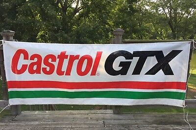 "Vintage CASTROL GTX Motor Oil Advertising Banner Outdoor Sign 8ft x 34"" Plastic"