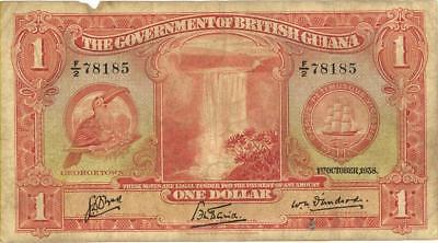 British Guiana $1 Currency Banknote 1938