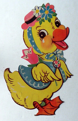 """Vintage CHICKADEE DUCKLING Die-Cut Card Paper EASTER DECORATION 11"""" 99% Mint"""