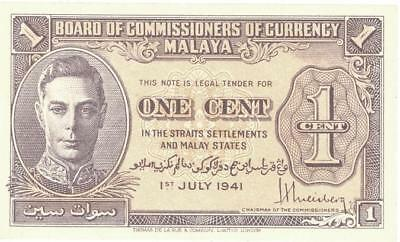 Malaya 1 Cent Currency Banknote 1941 CU