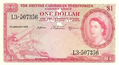 British Caribbean Territories $1 Dollar Currency Banknote 1959 XF