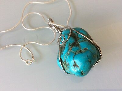 Vintage Chunky Blue Natural Turquoise Gemstone Sterling Wired Pendant Necklace *