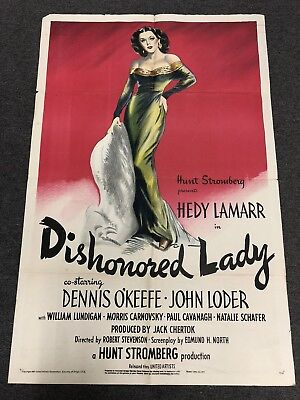 1947 Movie Poster Dishonored Lady Hedy Lamarr 27 X 41 Movie Memorabilia
