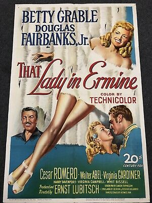 Original 1948 Movie Poster That Lady In Ermine Betty Grable 27 X 41