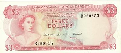Bahamas $3 Dollars Currency Banknote 1968  AU/UNC