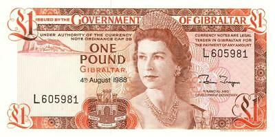 Gibralter 1 Pound Currency Banknote 1988 CU