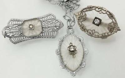 Antique Vintage Camphor Glass Pin & Necklace Lot Frosted Filigree