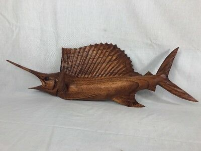 Sailfish Wall Mount Hand Carved Wood Art Home Decor Fish Tiki Bar Saltwater