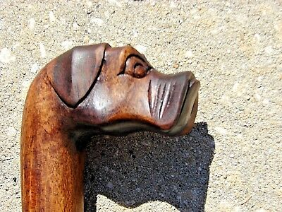 "36"" Bull Dog Walking Stick Cane Mahogany Wood Design Wood Carving Art"