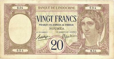 New Caledonia 20 Francs Currency Banknote 1929