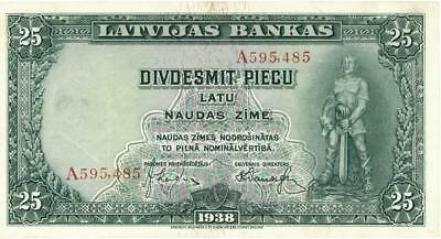 Latvia 25 Latu Currency Banknote 1938 XF