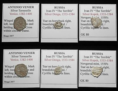 MEDIEVAL. Lot of 3 Hammered Silver/Billon coins, Venice, Russia