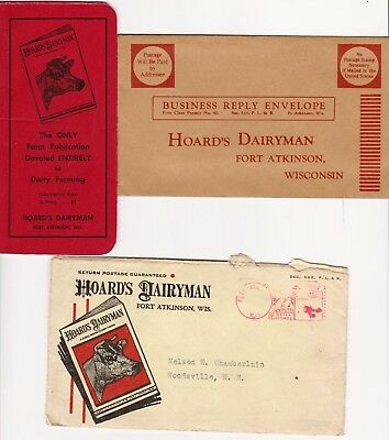 Hoards Dairyman 1945 Advertising Cover w/ enclosures Fort Atkinson Wisconsin