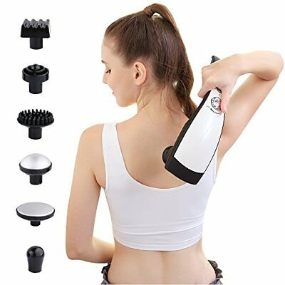 6 Interchangeable Nodes Massager,handheld Deep Percussion Massager With Heat, Va
