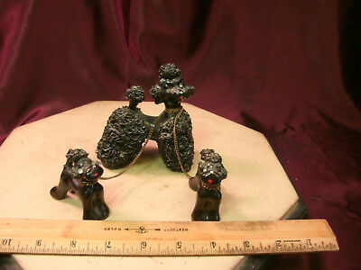 Vtg Porcelain Spaghetti Black Poodle w/2 pupies-Japan-free ship