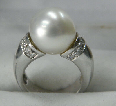 18ct/750 WHITE SOLID GOLD GENUINE LARGE PEARL DIAMOND'S LADIES RING rrp $1750