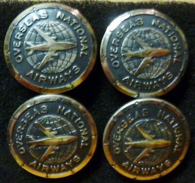 Lot of 4 ONA Overseas National Airways Pilots Uniform Buttons defunct airline !!