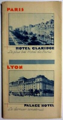 Antique folding travel brochure & map famous European Hotels early 1900s extras