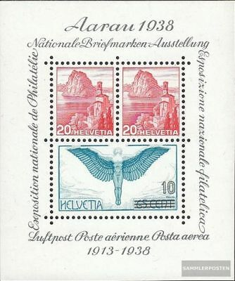 Switzerland block4 (complete issue) with hinge 1938 25 years Airmail