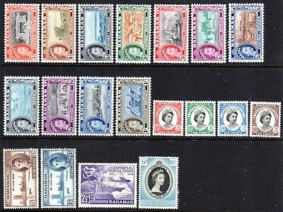 1946-1959 BAHAMAS SELECTION 19 stamps mixed mint unhinged / mint vl hinged