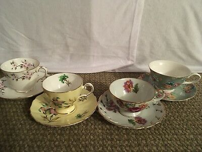 Vintage China Lot of 4 Tea Cups and Saucers Mismatched Sets