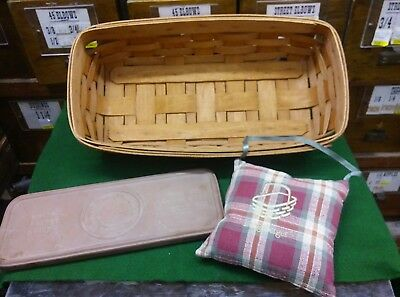 1990 Longaberger Signed Bread  Basket  With Terra Cotta Warming Brick & Pillow