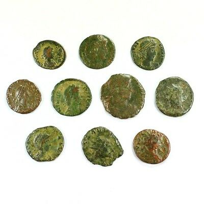 Ten (10) Nicer Ancient Roman Coins c. 100 - 375 A.D. Exact Lot Shown rm3221