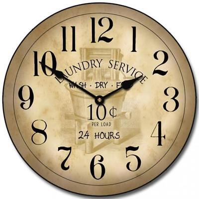 Vintage Laundry Room Wall Clock, Available in 8 sizes, Most Sizes Ship the...