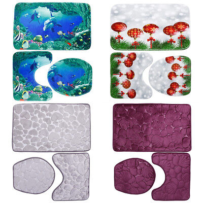 Flannel Soft Bath Mat Pedestal Mat Toilet Lid Seat Cover 3 Piece Bathroom Set