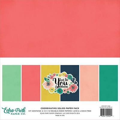 """Echo Park - JUST BE YOU - 12x12""""  co-ordinating solids paper pack - 6 sheets"""