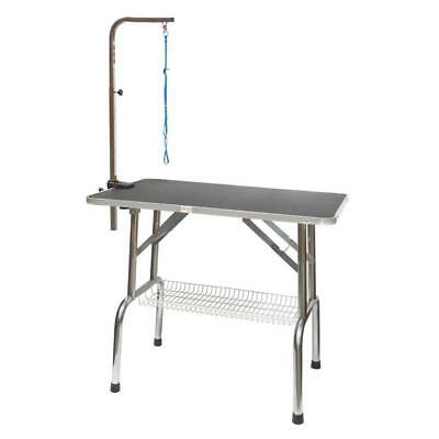 Go Pet Club Heavy Duty Stainless Steel Dog Grooming Table with Arm