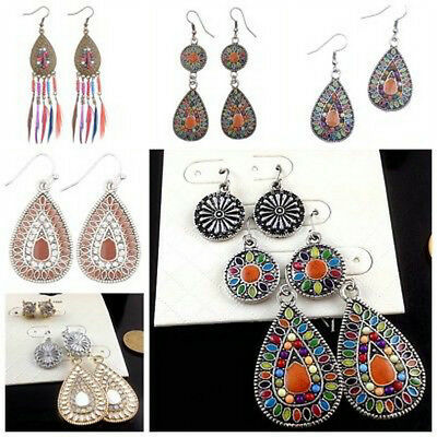 3Pairs/Lot Bohemian Boho Colorful Resin Bead Waterdrop Tassel Women Earrings