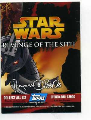 STAR WARS  REVENGE OF THE SITH ETCHED FOIL CARD No. 6